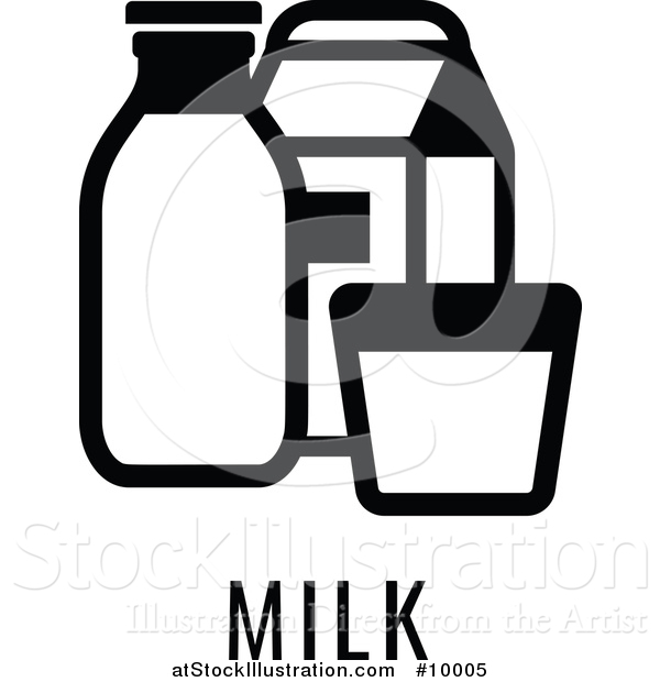 Vector Illustration of a Black and White Food Allergen Icon of Milk over Text
