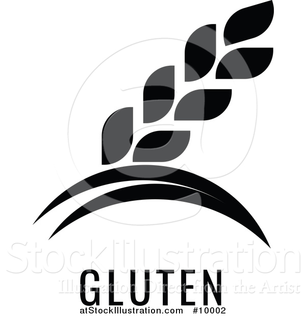 Vector Illustration of a Black and White Food Allergen Icon of Wheat over Gluten Text