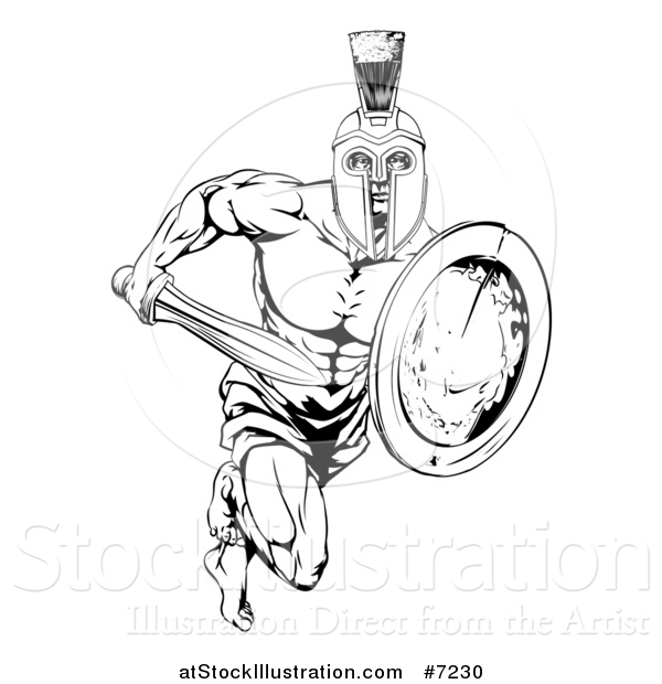 Vector Illustration of a Black and White Gladiator Man in a Helmet Sprinting with a Sword and Shield