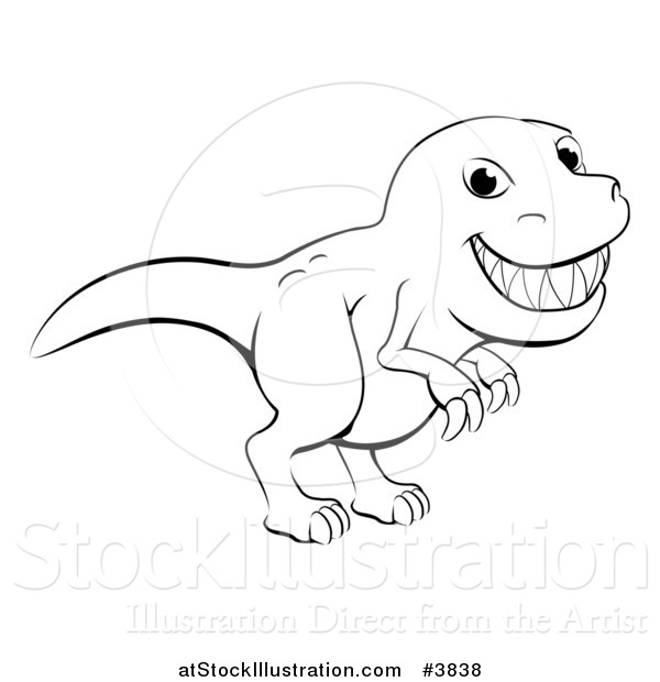 Vector Illustration of a Black and White Grinning T Rex Outline