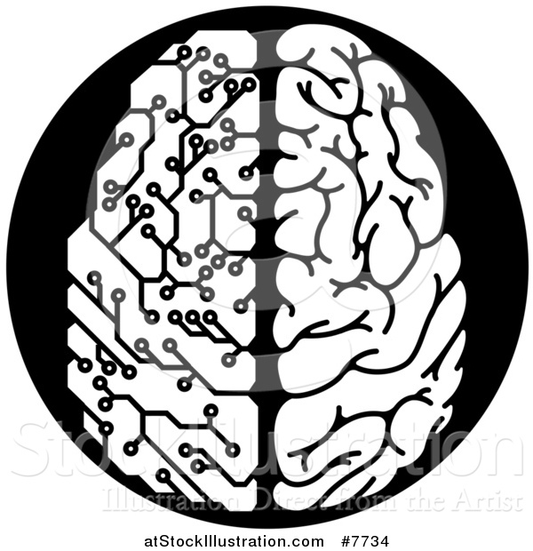 Vector Illustration of a Black and White Half Human, Half Artificial Intelligence Circuit Board Brain