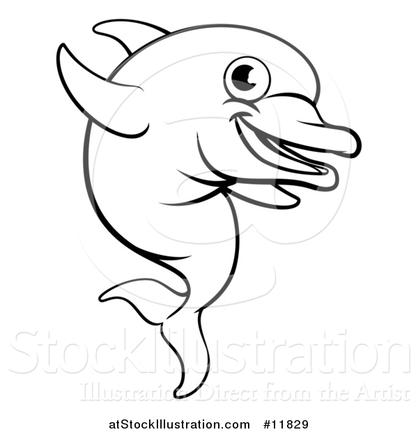 Vector Illustration of a Black and White Happy Cute Dolphin Jumping