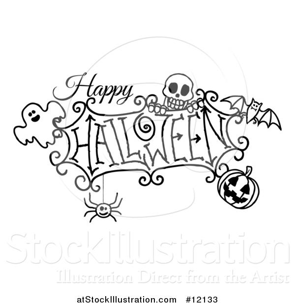 Vector Illustration of a Black and White Happy Halloween Greeting with a Ghost, Skull, Bat, Jackolantern and Spider
