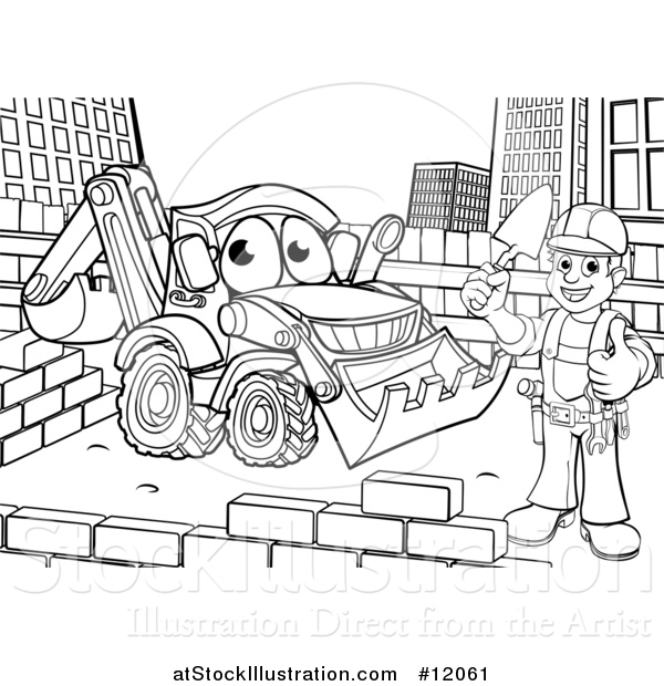 Vector Illustration of a Black and White Happy Male Mason Holding a Thumb Up, Working near a Bulldozer Digger