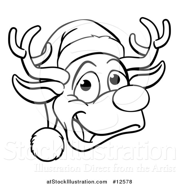 Vector Illustration of a Black and White Happy Reindeer Face Wearing a Christmas Santa Hat