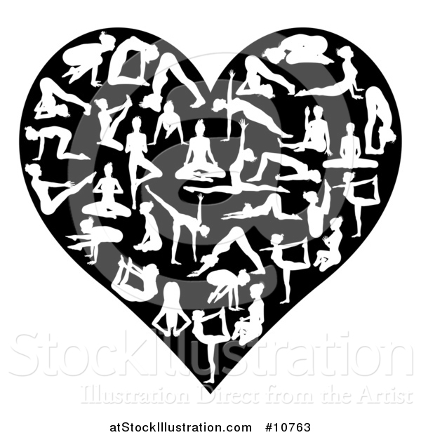 Vector Illustration of a Black and White Heart of Silhouetted Women Doing Yoga