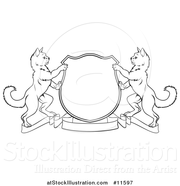 Vector Illustration of a Black and White Heraldic Coat of Arm Shield of Two Cats