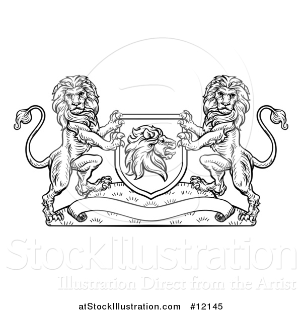 Vector Illustration of a Black and White Heraldic Lions Coat of Arms Crest