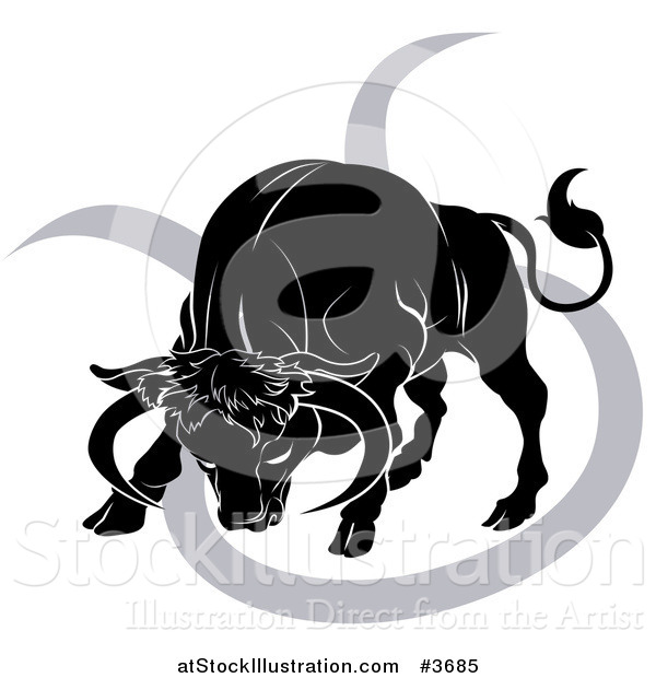 Vector Illustration of a Black and White Horoscope Zodiac Astrology Charging Taurus Bull and Sybmol