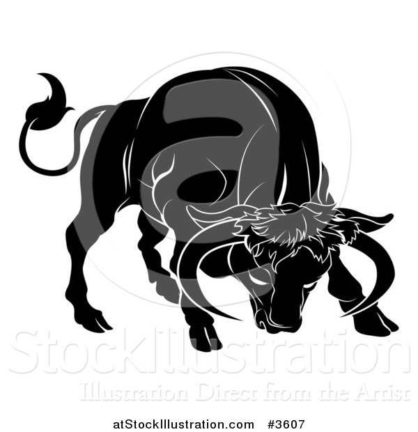 Vector Illustration of a Black and White Horoscope Zodiac Astrology Charging Taurus Bull
