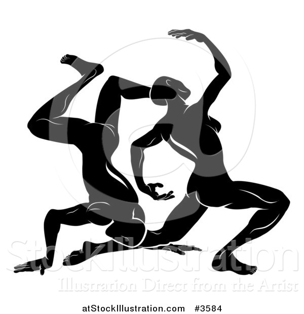 Vector Illustration of a Black and White Horoscope Zodiac Astrology Dancing Gemini Twins