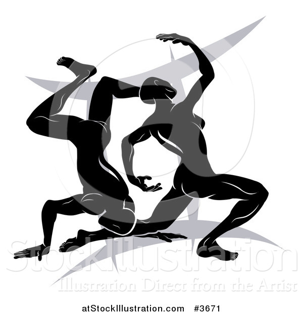 Vector Illustration of a Black and White Horoscope Zodiac Astrology Dancing Gemini Twins over a Symbol