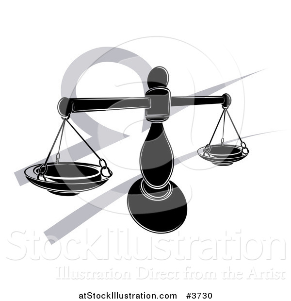 Vector Illustration of a Black and White Horoscope Zodiac Astrology Libra Scales and Symbol