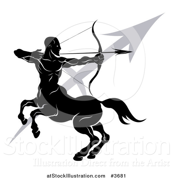 Vector Illustration of a Black and White Horoscope Zodiac Astrology Sagittarius Centaur Archer and Sybmol