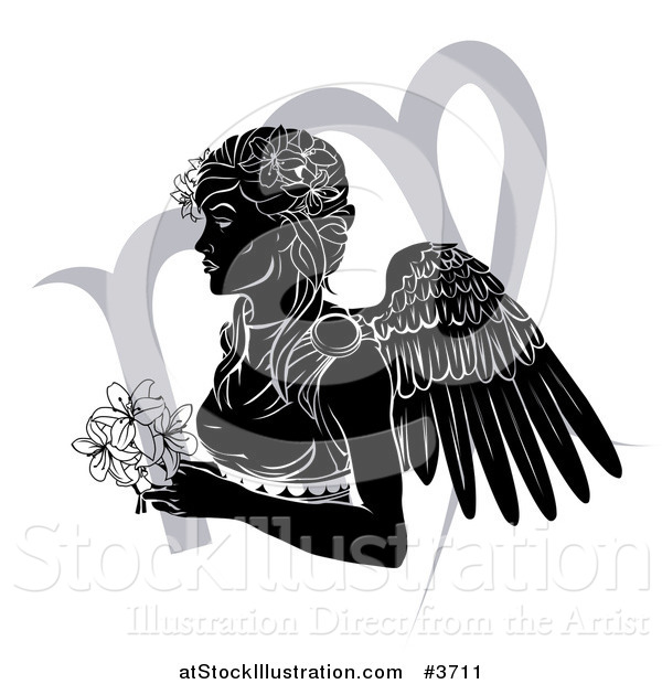 Vector Illustration of a Black and White Horoscope Zodiac Astrology Virgo Angel with Flowers and Symbol