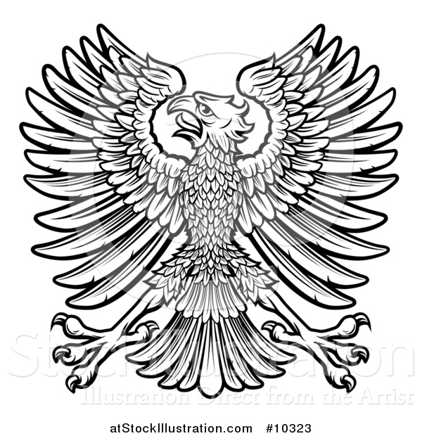 Vector Illustration of a Black and White Imperial Coat of Arms Eagle