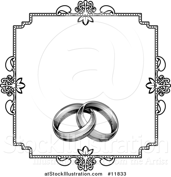 Vector Illustration of a Black and White Invitation with a Frame and Engraved Wedding Rings