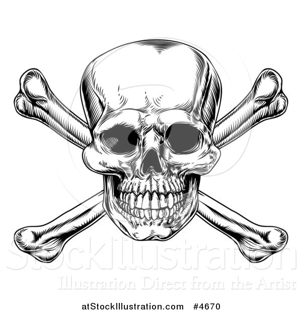 Vector Illustration of a Black and White Jolly Roger Skull and Crossbones