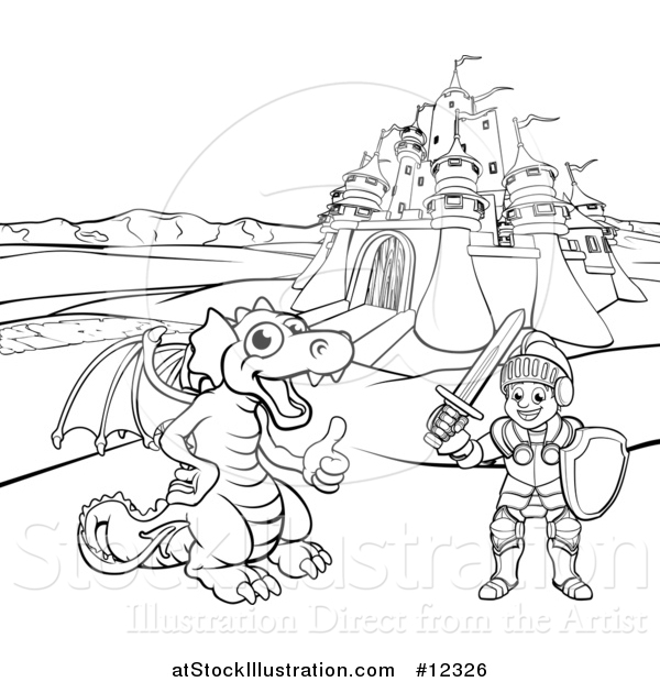 Vector Illustration of a Black and White Knight and Dragon by a Castle