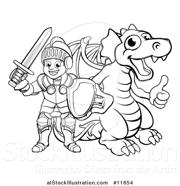 Vector Illustration of a Black and White Knight and Dragon