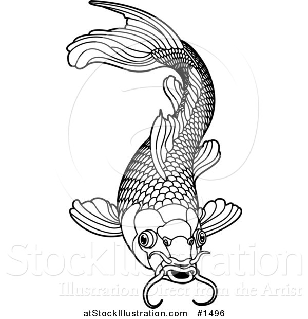 Black and white koi fish art for Black white koi