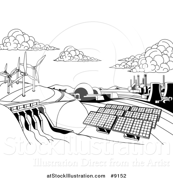Vector Illustration of a Black and White Landscape of Renewable Energy Plants with a Dam, Solar Panels, Wind Turbines, Coal Plants and Nuclear Plants