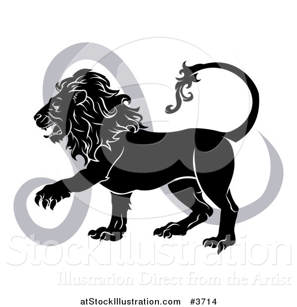 Vector Illustration of a Black and White Leo Lion Star Sign and Symbol