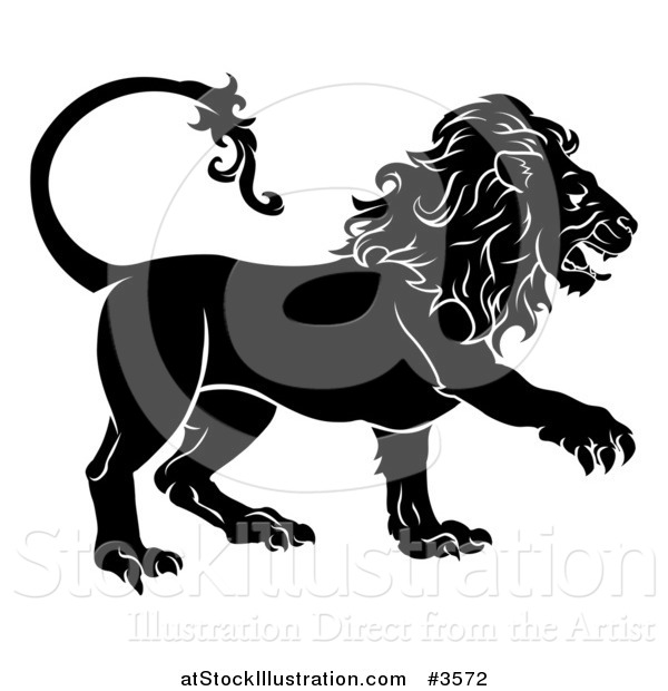 Vector Illustration of a Black and White Leo Lion Star Sign