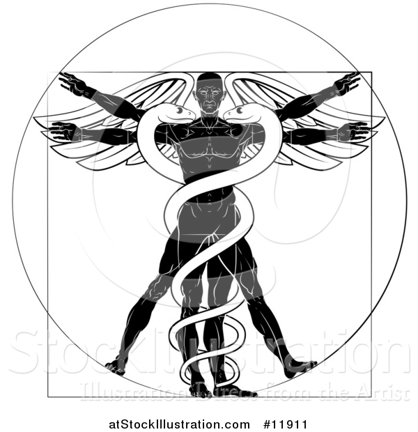 Vector Illustration of a Black and White Leonard Da Vinci Vitruvian Man with Wings and a Doubl Helix Snake Caduceu