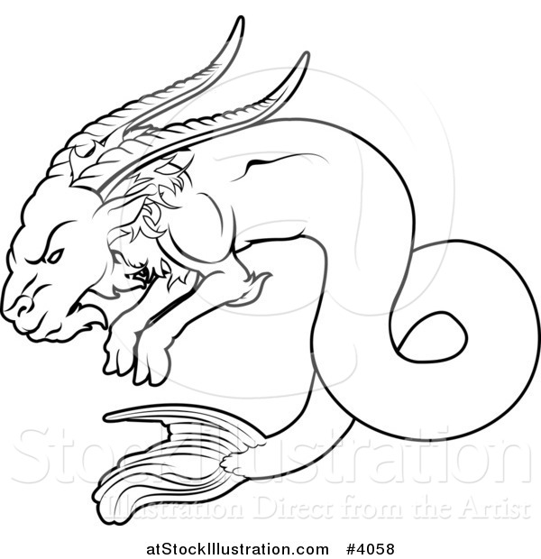 Vector Illustration of a Black and White Line Drawing of the Capricorn Zodiac Astrology Sign