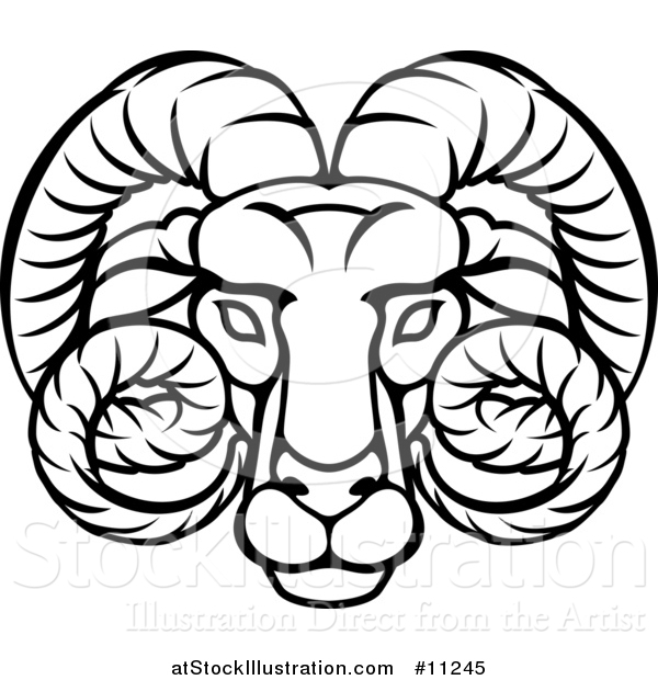 Vector Illustration of a Black and White Lineart Aries Ram Astrology Zodiac Horoscope