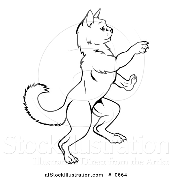 Vector Illustration of a Black and White Lineart Heraldic Rearing Rampant Cat