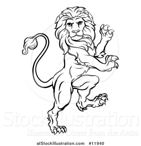 Vector Illustration of a Black and White Lineart Rampant Lion
