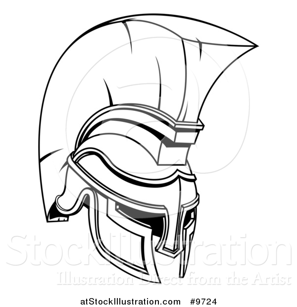 Vector Illustration of a Black and White Lineart Spartan or Trojan Helmet