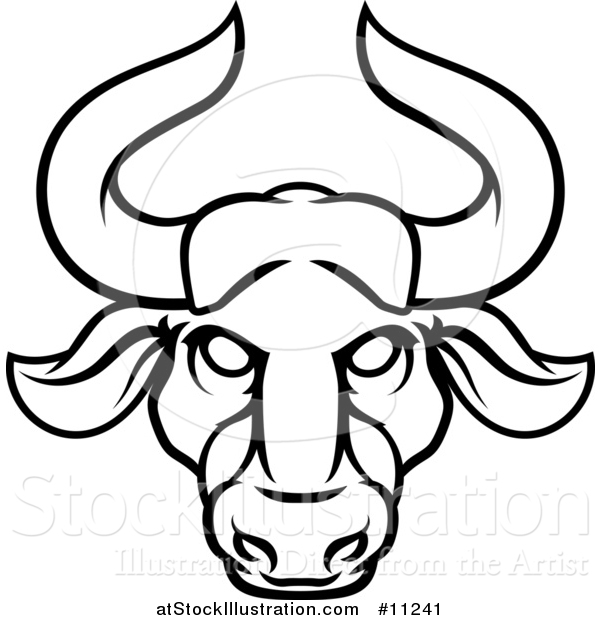 Vector Illustration of a Black and White Lineart Taurus Bull Astrology Zodiac Horoscope