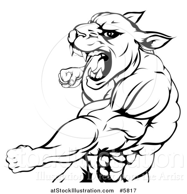Vector Illustration of a Black and White Mad Muscular Panther Man Mascot Punching