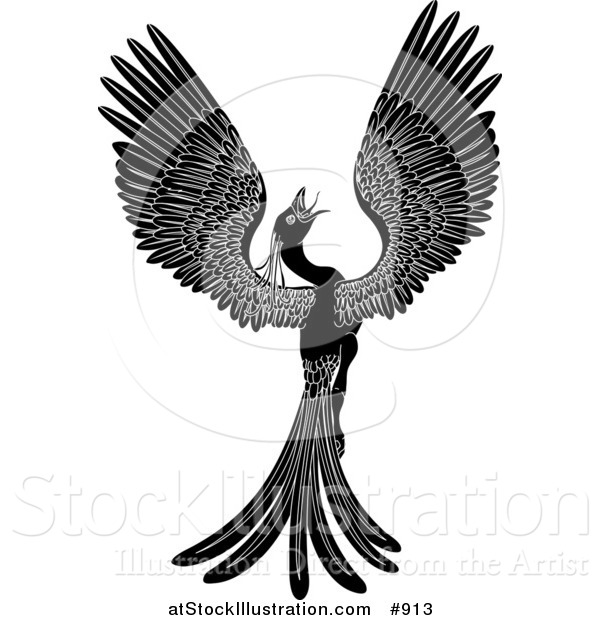 Vector Illustration of a Black and White Majestic Phoenix Fantasy Bird Opening Its Wings