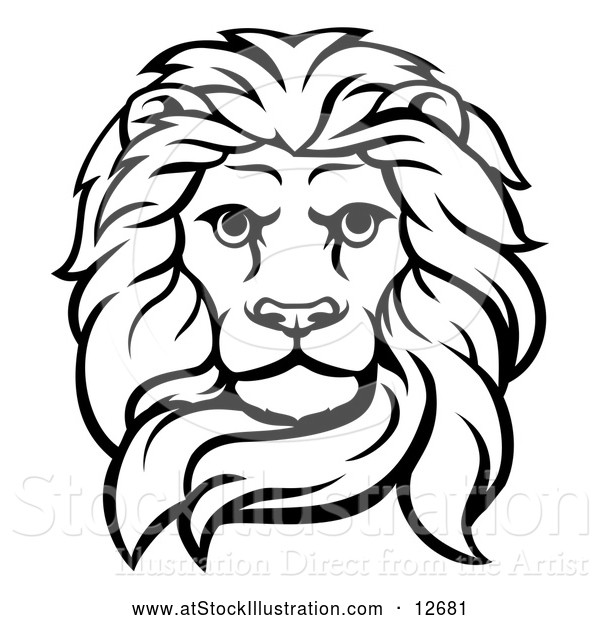 Vector Illustration of a Black and White Male Lion Head