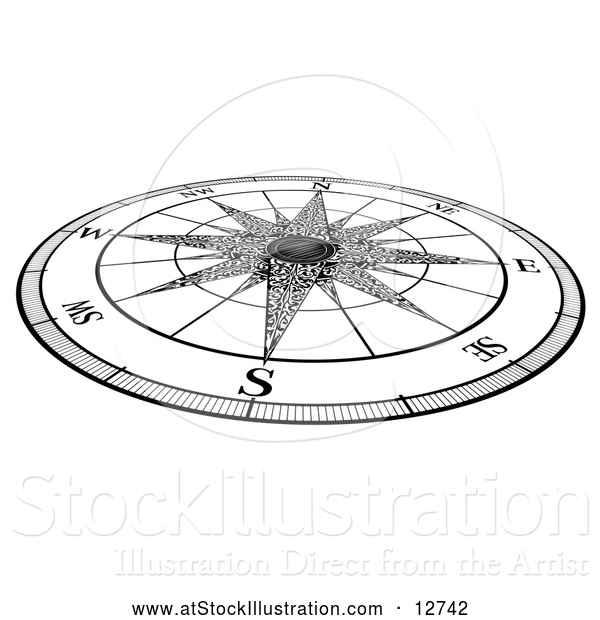 Vector Illustration of a Black and White Map Compass Rose