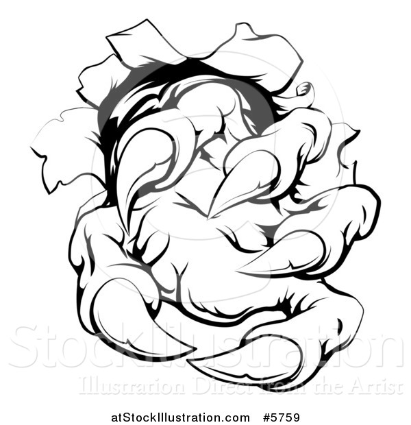 Vector Illustration of a Black and White Monster Claw Breaking Through a Wall