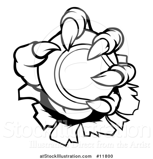 Vector Illustration of a Black and White Monster Claws Holding a Tennis Ball and Ripping Through a Wall
