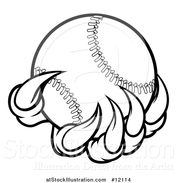 Vector Illustration of a Black and White Monster or Eagle Claws Holding a Baseball