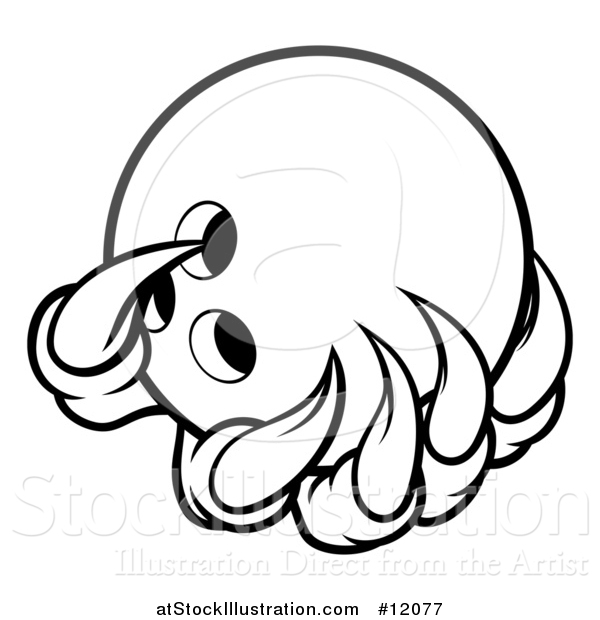 Vector Illustration of a Black and White Monster or Eagle Claws Holding a Bowling Ball