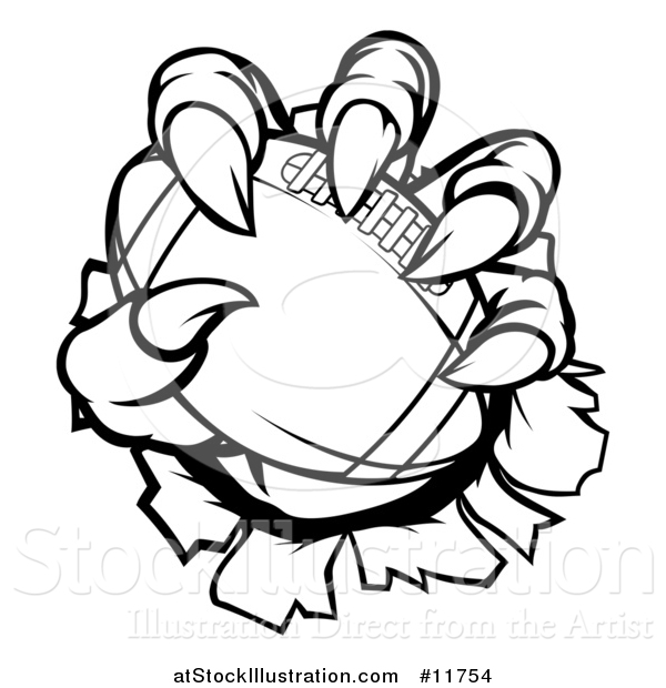 Vector Illustration of a Black and White Monster or Eagle Claws Holding a Football and Breaking Through a Wall