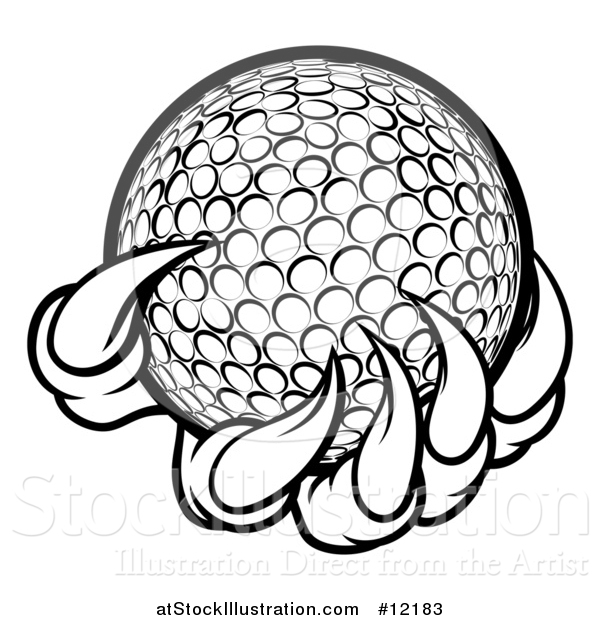Vector Illustration of a Black and White Monster or Eagle Claws Holding a Golf Ball
