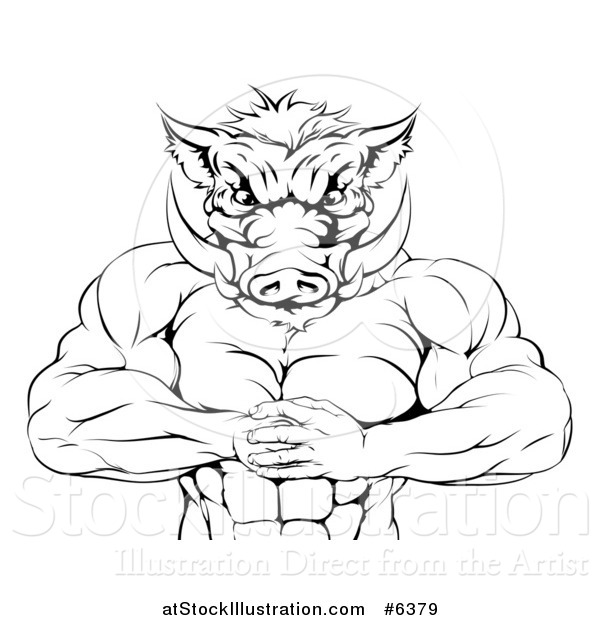 Vector Illustration of a Black and White Muscular Aggressive Boar Man Mascot Gesturing Bring It