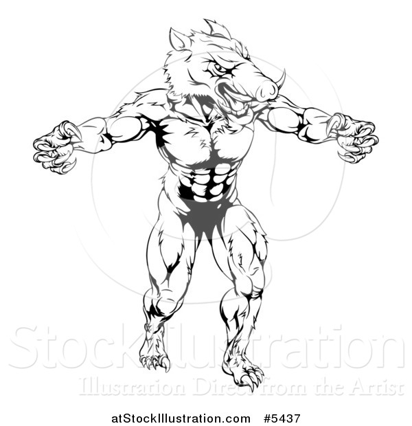 Vector Illustration of a Black and White Muscular Aggressive Boar Mascot