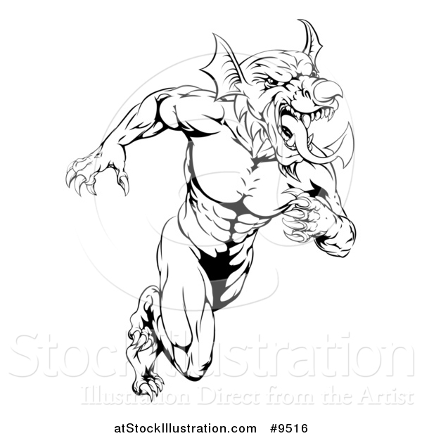 Vector Illustration of a Black and White Muscular Aggressive Welsh Dragon Man Mascot Sprinting Upright