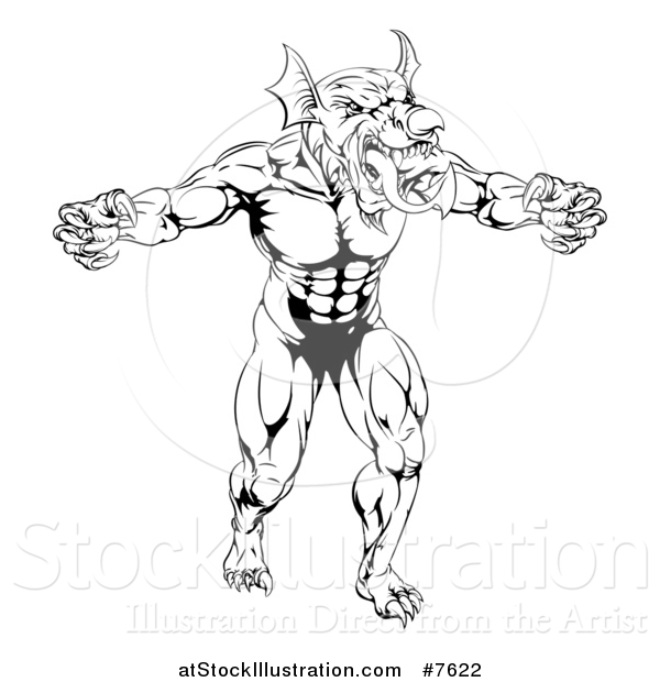Vector Illustration of a Black and White Muscular Aggressive Welsh Dragon Man Mascot Walking Upright