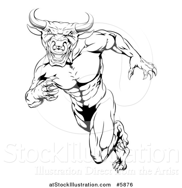Vector Illustration of a Black and White Muscular Bull Man Mascot Running Upright